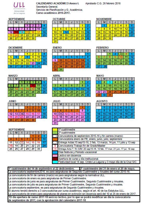 Calendario acad mico estudios y docencia for Arquitectura tecnica ull