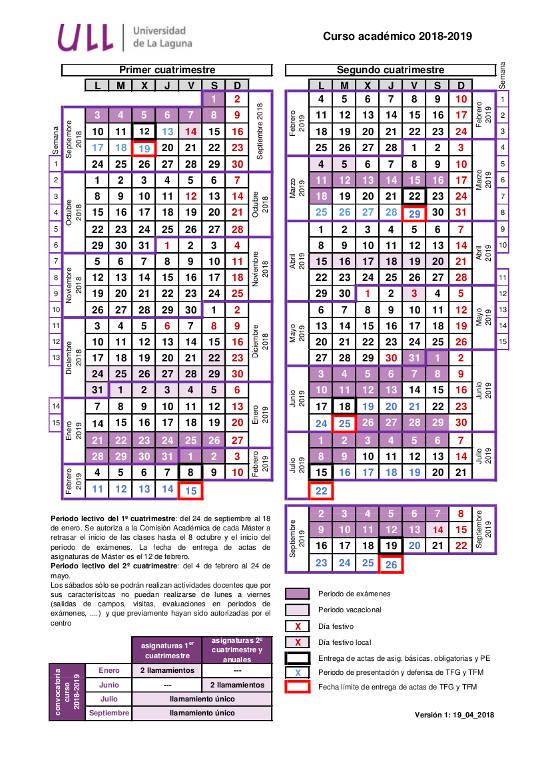 Calendario 18 19.Calendario 18 19 Cg Estudios Y Docencia
