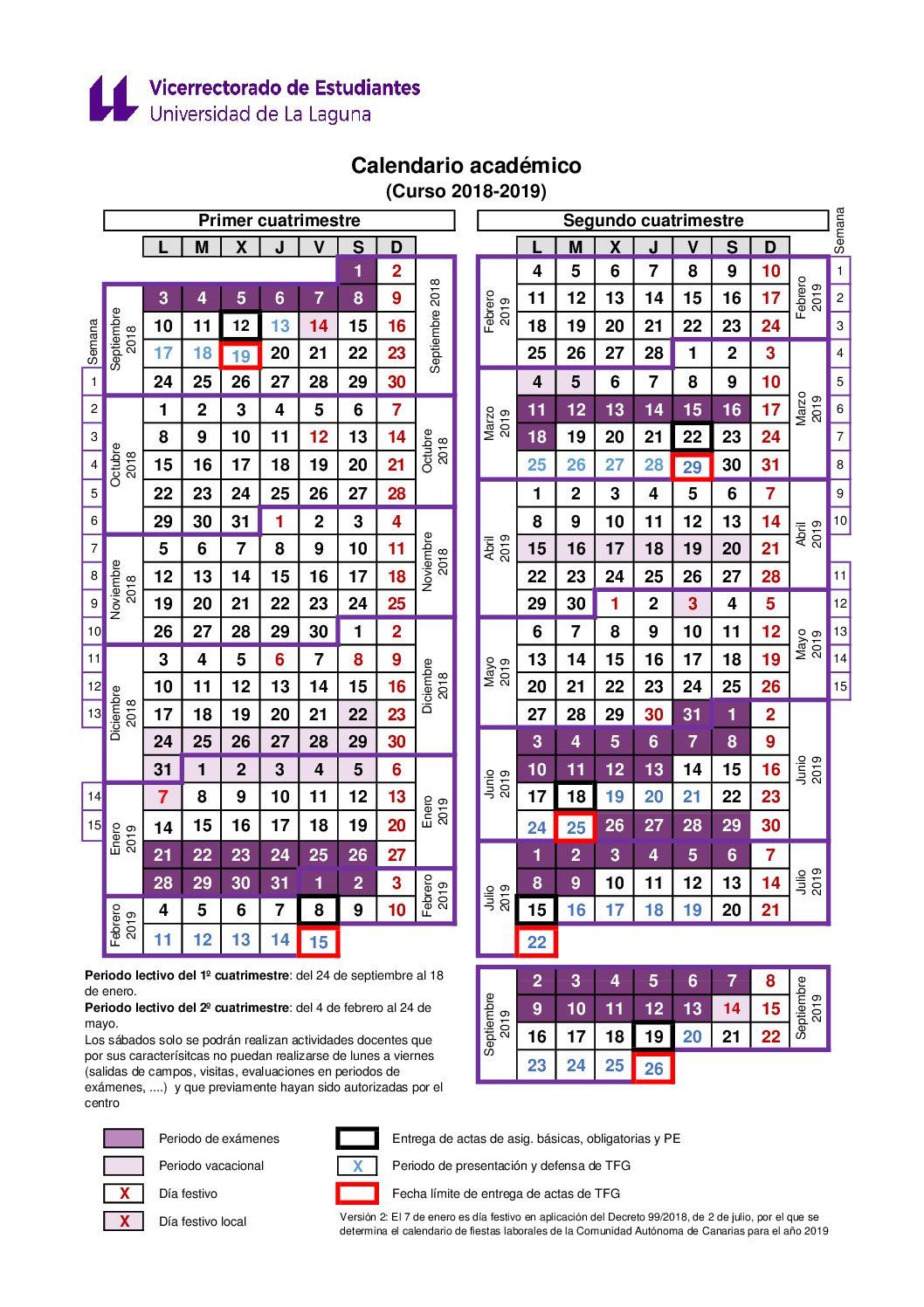 Calendario Laboral 2020 Canarias.Calendario Academico Estudios Y Docencia