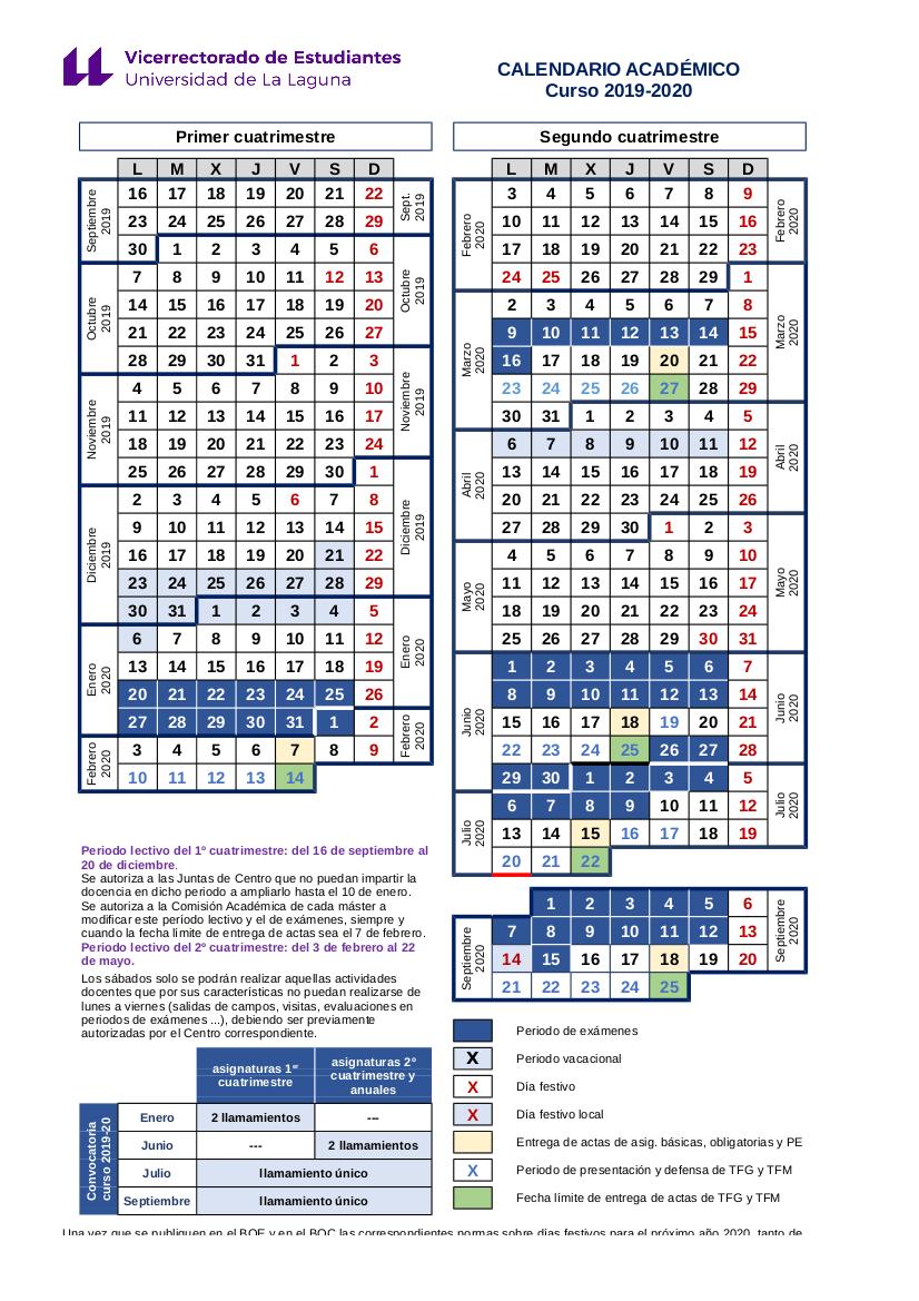 Calendario Del Ano 2020 En Espanol.Calendario Academico Estudios Y Docencia