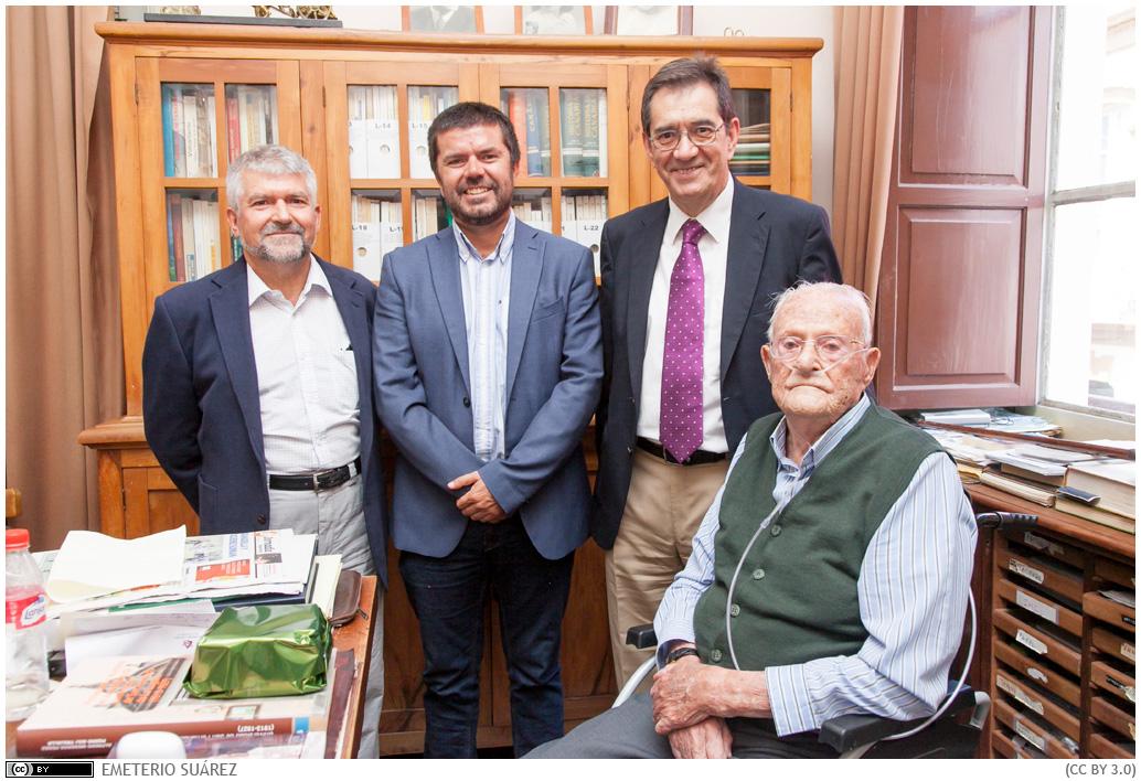 Leoncio Afonso, durante la visita institucional con motivo de su centenario.