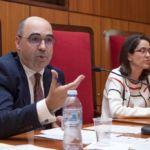 El ponente durante su intervención, acompañado de la directora del CDE
