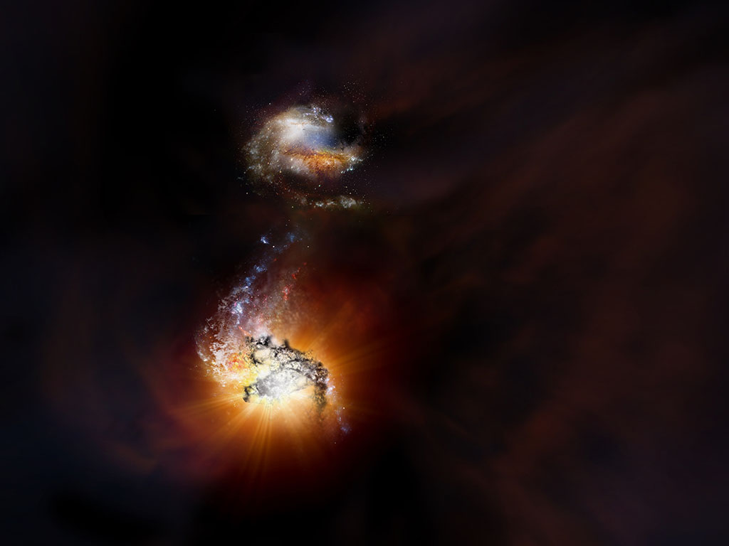 Observaciones de astrofísicos de la ULL y el IAC revelan la próxima fusión de dos galaxias a 13.000 millones de años luz
