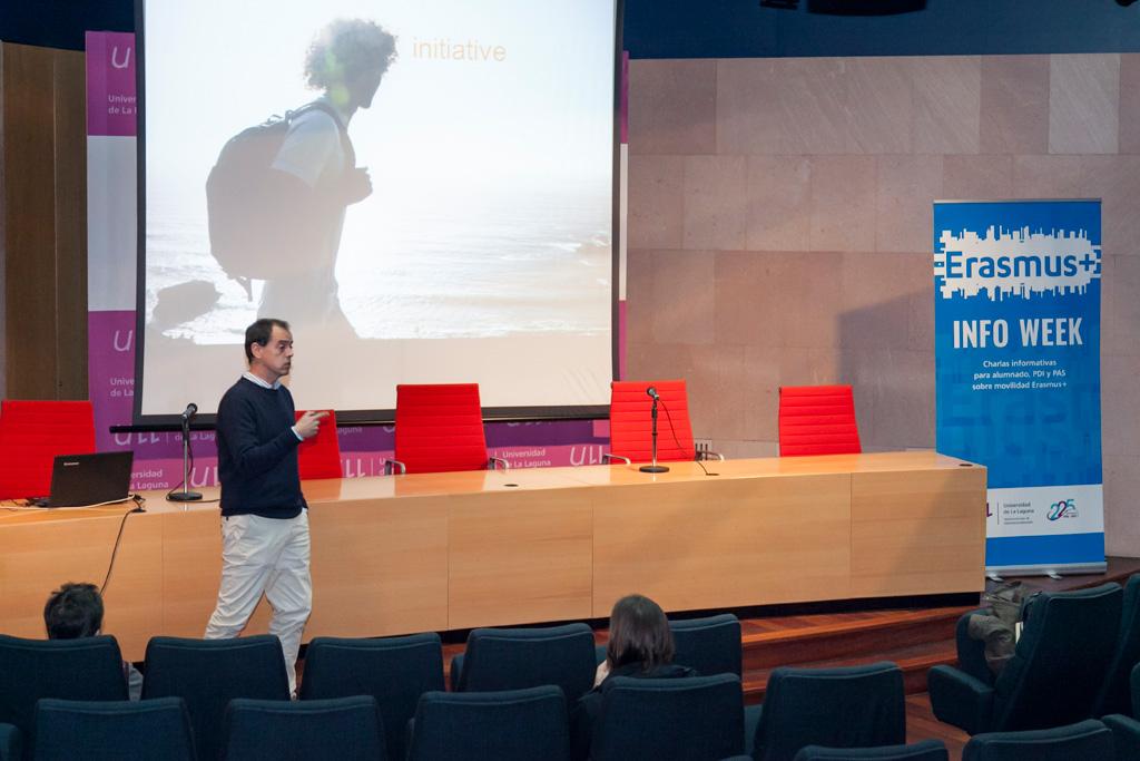 Imagen de la charla sobre Recruitign Erasmus desarrollada en el seno de esta Erasmus Info Week.