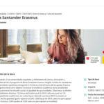 Portada de la web de las Becas Santander Erasmus