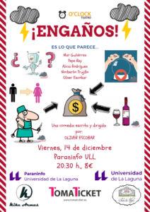 La compañía canaria O'clock Teatro estrena la comedia 'Engaños' en el Paraninfo