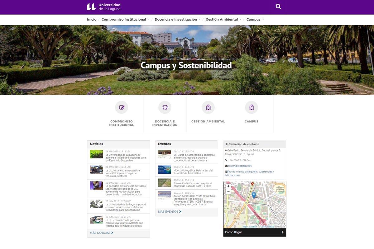 Imagen de la web de Campus y Sostenibilidad