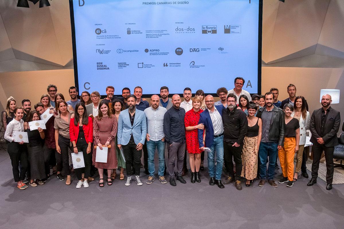 Foto de familia de los Premios Canarias de Diseño 2019.