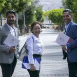 Luis Yeray Gutiérrez, Rosa Aguilar y Alejandro Marrero, durante su reunión en el Campus de Guajara