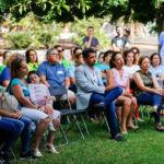La rectora, junto al alcalde de San Cristóbal de La Laguna y la alcaldesa de Santa Cruz de Tenerife, durante la jornada de la Escuela Abierta de Verano.