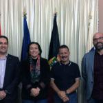 El vicerrector de Investigación, la teniente de alcalde y el alcalde de Fuencaliente, y el investigador de la ULL.