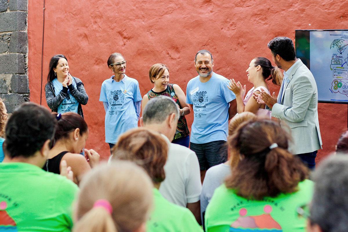 La rectora de la ULL, el alcalde de La Laguna y la alcaldesa de S/C de Tenerife en una de las actividades organizadas al amparo del proyecto ICI Taco.