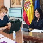 Rosa Aguilar y Carolina Darias durante su participación en este webinar.