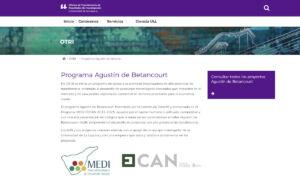 Sección del programa Agustín de Betancourt en la web de la OTRI-ULL.