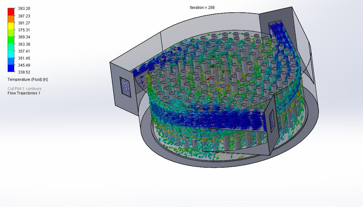 Entrada tangencial del fluido y calentamiento dentro de la cámara de expansión debido a los cilindros verticales. Imagen obtenida por la estudiante de doctorado Nuria Regalado Rodríguez con el programa SOLIDWORKS.