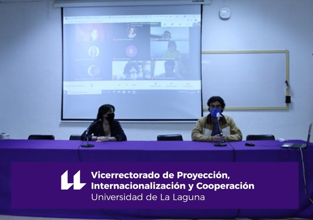 La Directora de Secretariado de Movilidad Internacional, Sandra Dévora Gutiérrez, y el profesor Javier Mendoza Jiménez.