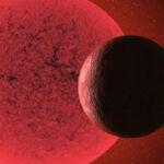 Recreación artística de la supertierra orbitando alrededor de la enana roja GJ 740.