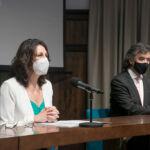 La vicerrectora de la ULL, Lidia Cabrera, y su homólogo de la ULPGC, Jin Javier Taira, durante la inauguración.