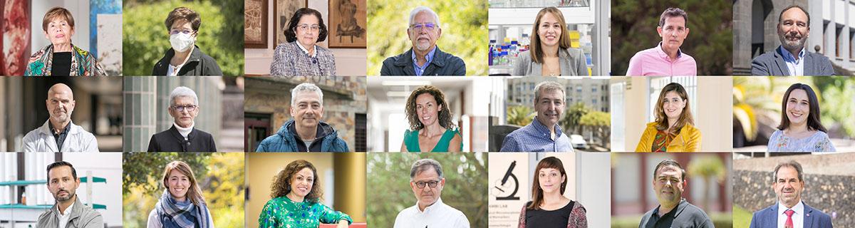 Una pequeña muestras de las más de 50 personas que a lo largo del curso 2020-21 han ocupado la portada de la web universitaria.