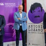 De izquierda a derecha, el director del departamento de filología Española Antonio Cano; el vicerrector de Cultura y Participación Social, Juan Albino Méndez; y el director del seminario, Javier Rivero.